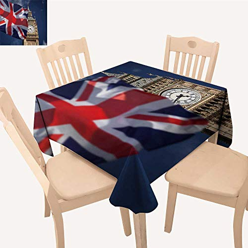 UHOO2018 Square/Rectangle Tablecloth Waterproof Polyester British Union Jack Flag Ben Clock Tower at City Westminster Wedding Birthday Party,23 x 24inch ()
