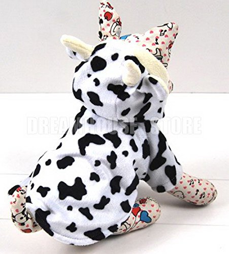 [SELMAI Small Pet Cow Costume Fleece Lined Dog Coat Hooded Sweatshirts Puppy Chihuahua Clothes L] (Deluxe Cow Mask)