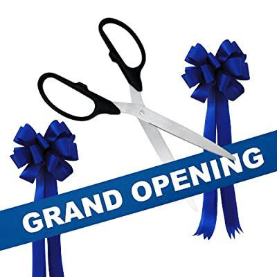 "Grand Opening Kit - 36"" Silver Ceremonial Ribbon Cutting Scissors with 5 Yards of 6"" Grand Opening Ribbon and 2 Bows"