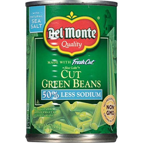 Del Monte Canned Fresh Cut Blue Lake Low Sodium Cut Green Beans, 14.5-Ounce