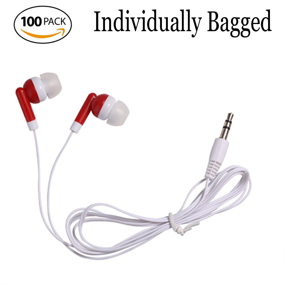 Wholesale Bulk Earbuds Headphones Individually Bagged 100 Pack For Iphone, Android, MP3 Player - Red