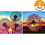 #8: Maxdot 2 Pieces 5D DIY Dandelion Diamond Painting Kits Full Drill Diamond Painting Kit Rhinestone Cross Stitch Supplies Tools, 12 by 12 Inch