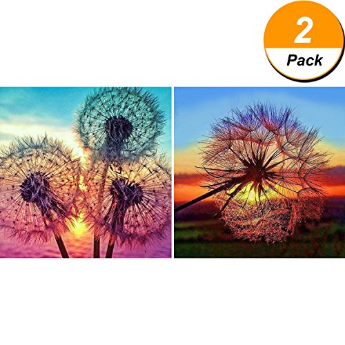 Maxdot 2 Pieces 5D DIY Dandelion Diamond Painting Kits Full Drill Diamond Painting Kit Rhinestone Cross Stitch Supplies Tools, 12 by 12 Inch