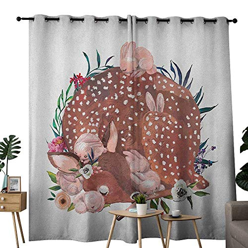 """Price comparison product image NUOMANAN Bedroom Curtain Kids, Artistic Illustration of a Deer with Hares Sleeping in The Forest Sweet Wildlife Theme,  Multicolor, Insulating Room Darkening Blackout Drapes 52""""x72"""""""