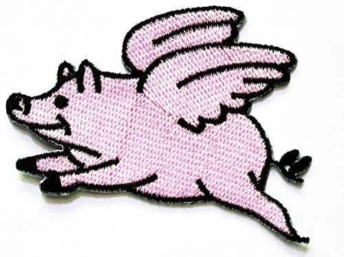 Nipitshop Patches Cute Pig Flying Animal Retro Hippie Cartoon Kids Patch Embroidered Iron On Patch for Clothes Backpacks T-Shirt Jeans Skirt Vests Scarf Hat -