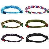Meangel 6Pcs Nautical Braided Bracelets for Men Handmade Navy Rope Bracelet Adjustable