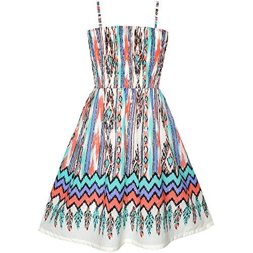 KX81 Girls Dress Tank Smocked Stripe Wave Print Summer Size 2-3