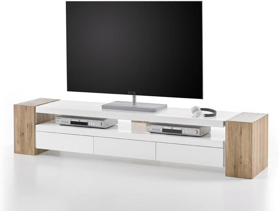 Concept Muebles Jule II - Mueble para TV (Gran Soporte, Caja de Roble Macizo, 3 cajones y Estante Espacioso, para televisores de hasta 90 Pulgadas): Amazon.es: Hogar
