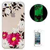 iphone 5s clear case with gems - iPhone 5/5S/SE Case [Free Screen Protector] KaseHom Luminous TPU Gel Cover Shiny Diamond Gems Rose Red Flower Patten Soft Clear Silicone Shockproof Bumper Glow in The Dark for iPhone 5/5S/SE