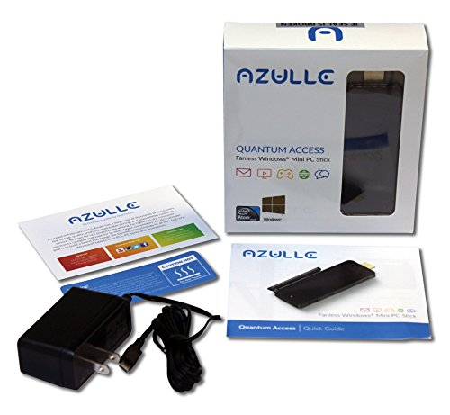 Azulle Quantum Access Fanless Mini PC Stick 2GB/32GB - Portable Business or Home Computer Device with Windows 10