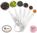 Stainless Steel Measuring Spoons Set - All in One Heavy Duty 430 Stainless Steel Metal Measuring Spoons for Dry or Liquid, Fits in Spice Jar, Set of 6