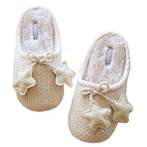 Fortuning's JDS Unisexo Adultos Pareja acogedor Lana Casa Calzado ovejas encantadoras Confortable Zapatillas Beige