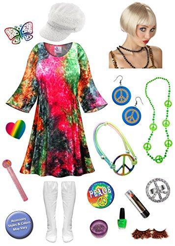 Glitter Gold Go Go Costumes (Velvet Tie Dye Gogo Dancer Plus Size Halloween Costume Blonde Wig Kit 4x/Micro)