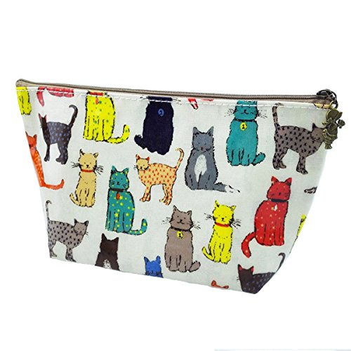 Micom Cute Cartoon Animals Print Large Cosmetic Bags for Women,girls (Kids Cat Makeup)