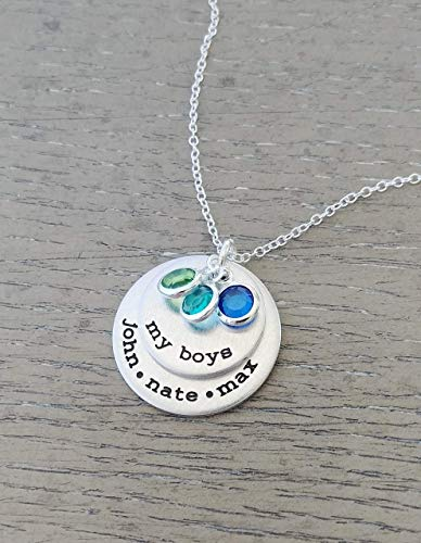 (My Boys Necklace // Personalized Necklace with Kids Names and Birthstones // Hand Stamped Jewelry // Custom Necklace for Mom of)