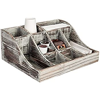9 Compartment Rustic Torched Wood Tabletop Condiment Holder, Coffee U0026 Tea  Storage Caddy