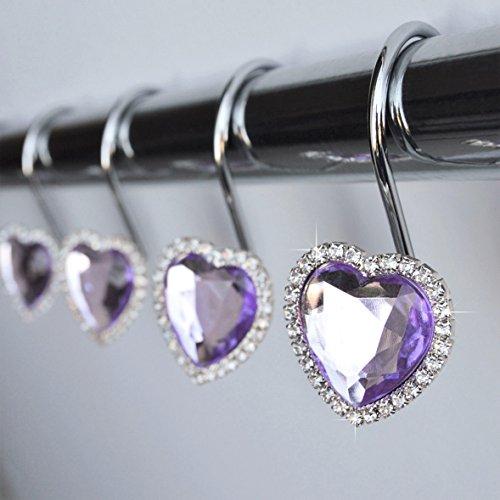 Shower Curtain Hooks Rings - Heart Light Purple Decorative Crystal Diamond Gems Bling Rhinestones Bathroom Bath Set Gift Valentine Girl (Purple Light)