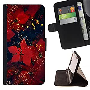 - Christmas Winter Holiday Red - Estilo PU billetera de cuero del soporte del tir???¡¯????n [solapa de cierre] Cubierta- For HTC DESIRE 816 £¨ Devil Case £©