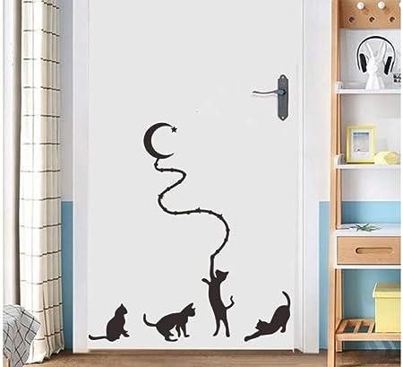 ZJMIQT Cartoon Gatito Negro recogiendo Estrellas Luna Pegatinas de Pared para la habitación de los niños Gatos Lindos Arte Mural Puerta del Dormitorio decoración DIY de Vinilo vinilos Adhesivos: Amazon.es: Hogar
