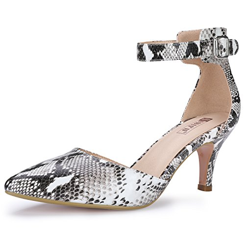 (IDIFU Women's IN3 D'Orsay Pointed Toe Ankle Strap Mid Heel Pump (Snake White, 6 B(M) US))