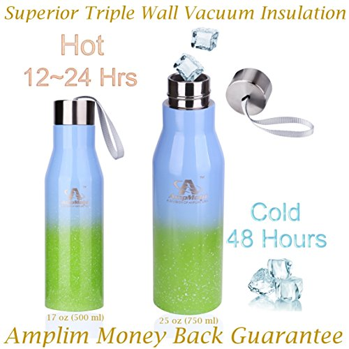 Amplim Triple Wall Vacuum Insulated Stainless Steel Sports Water Bottle. Ice Cold for 48 Hours! FDA Approved Food-Grade Materials, BPA Free, Eco-Friendly Travel Flask. 17 oz Green Blue
