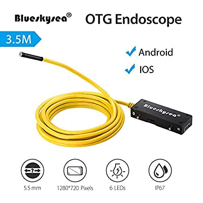 Blueskysea 5.5mm OTG Endoscope Snake Tube Borescope HD Inspection Camera Video IP67 Waterproof 2MP 720P 6LED Micro USB For Android IOS (3.5M/11.5ft)