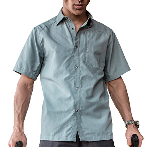 FREE SOLDIER Shirt Men Short Wrinkle Resistant Sleeve Snap Front Shirt with Front-Pocket(Blue Chill L)