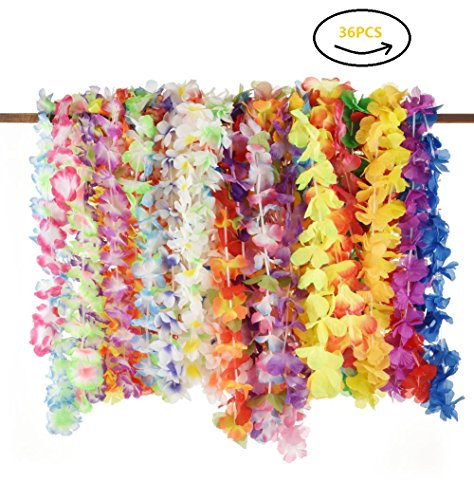 36PCS Tropical Hawaiian Luau Leis Flower Necklaces Mahalo Floral Summer Pool Beach Wedding Party Favors Supplies Decorations