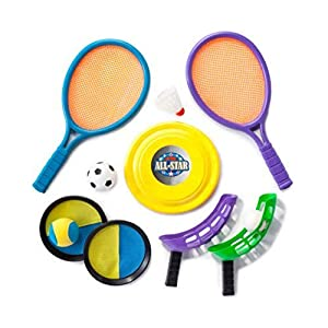 5 in 1 Outdoor / Lawn Game Set Badminton Set, Ball, Flying Disc, Sky Catch Set