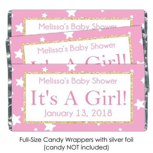 25 It's A Girl Baby Shower Candy Wrappers, Pink Stars and Gold, Birth Announcement candy (Announcement Candy Wrappers)