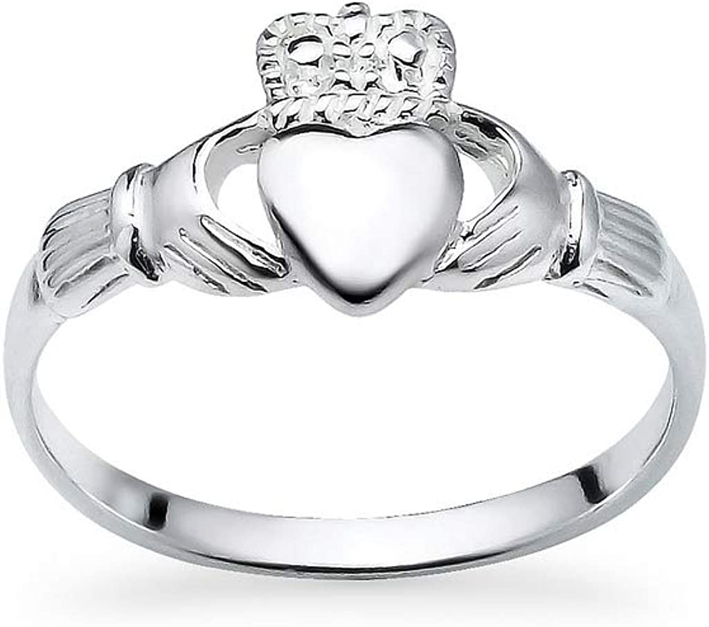Amazon Com 925 Sterling Silver Irish Claddagh Crown Love Heart Band Celtic Friendship Promise Ring Sizes 5 To 14 Jewelry