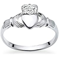 925 Sterling Silver Irish Claddagh Crown Love Heart Band | Celtic Friendship Promise Ring | Sizes 5-14