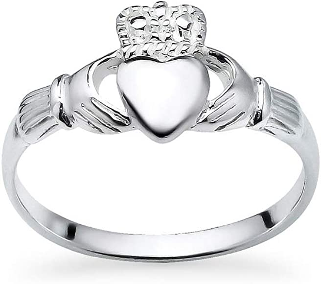 Ladies 925 Sterling Silver Polished Irish Claddagh Ring Band Size 6-8
