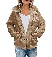 TECREW Womens Winter Sherpa Fleece Button Jacket Coat Loose Long Sleeve Outwear