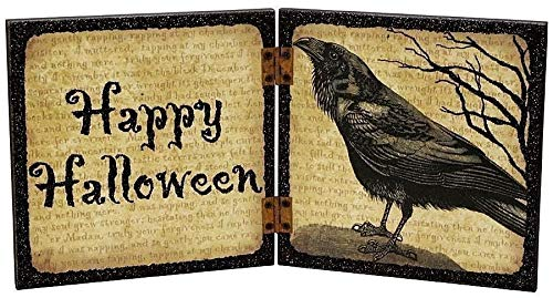 was Manufactured to Look Antique Happy Halloween Hinged Book Sign w/Raven Crow Primitive Halloween Inspiration for A Project -