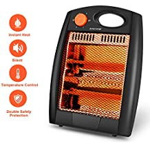 Portable Radiant Heater – Portable Space Heater Quartz Infrared Heater 700W Adjustable Heater Energy Efficient Space Heater Instant Heater Overheat & Tip-Over Protection