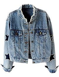 Women's Star Embroidered Rivet Pearl Denim Jacket Coat