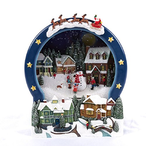 New Christmas LED Animated Holiday Living Blowing Snow Snowman ScenE Music Indoor (Christmas Scene Animated)