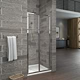 EMKE 80cm Bifold Shower Enclosure Door with 6mm Safety Glass Reversible Folding Shower Cubicle Door
