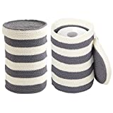 mDesign Free-Standing Knit Toilet Paper Holder for Bathroom Storage - Pack of 2, Gray/Ivory