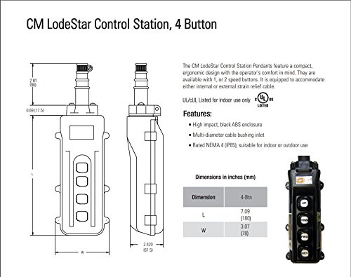4 button, cm lodestar control station, all single speed  pendent control wiring diagram cm #13