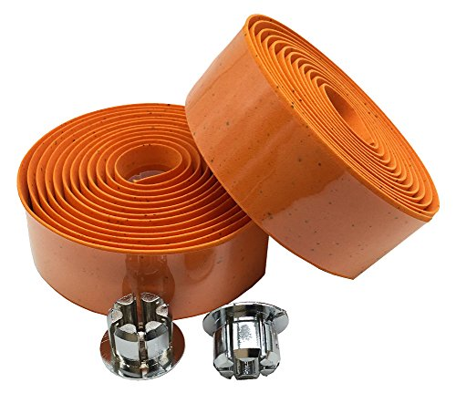 Yowanted Cork Ribbon Road Bike Sports Bike Handlebar Tapes with Bar Plugs Orange (Cork Bar Synthetic Tape)