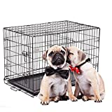 Cheap BestPet 3-Door Pet Folding Cage Dog Crate Kennel with ABS Tray, 30-Inch
