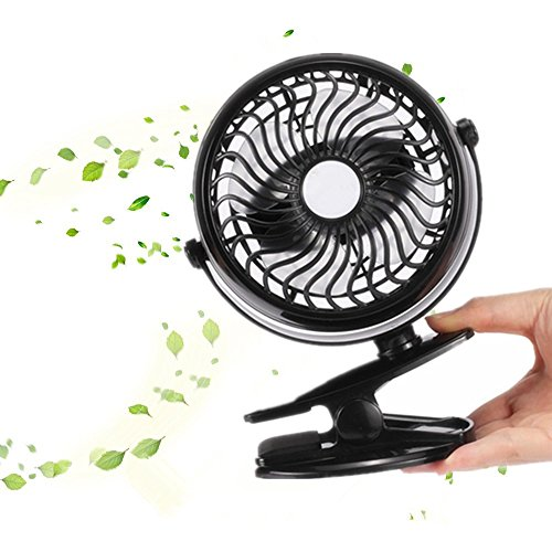 Battery Operated Fan, HOMPOT Mini Desk Clip Fan, 360 Degree Rotation USB Electric Desk Fan for Home Office Baby Stroller Car Laptop Study Table Gym Camping Tent, Black