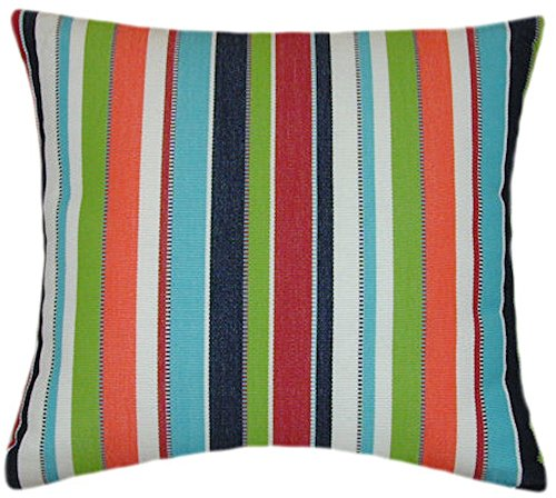 - Sunbrella Carousel Confetti Indoor/Outdoor Striped Pillow 20x20