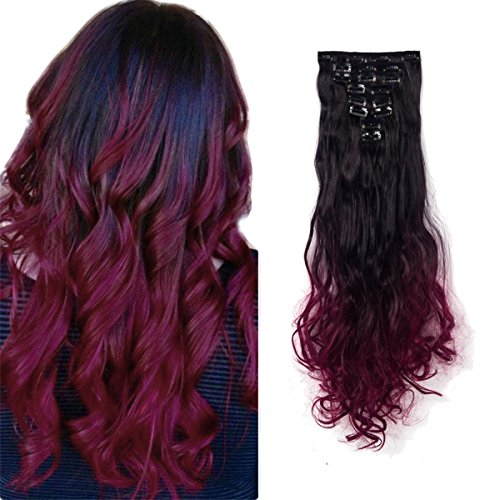 FIRSTLIKE 24 Inches Long Wavy Clip in on 8 Pieces Full Head Set Hair Extensions 8pcs Hairpiece Extension for Halloeen Costume Girl Lady -