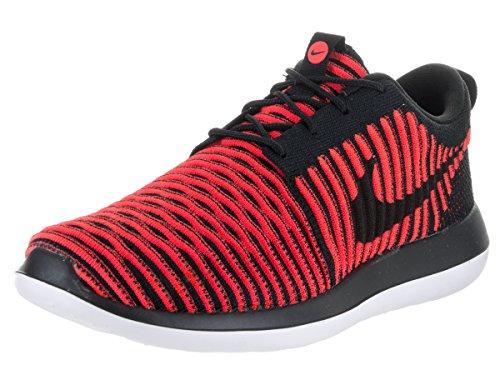 Nike Roshe Due Scarpe Casual Flyknit Nero Nero Brillante Bianco Cremisi 844833 006