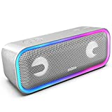 DOSS SoundBox Pro+ Wireless Bluetooth Speaker with 24W Impressive Sound, Booming Bass, Wireless Stereo Pairing, Mixed Colors Lights, IPX5 Waterproof, 15 Hrs Battery Life, 66 ft Bluetooth Range -Grey