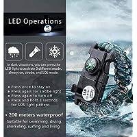 19 in 1 Su Geçirmez Paracord SOS Led Işıklı Bileklik Paracord Paraşüt İpi + Pusula + Düdük + Ateş Başlatıcı + Kazıcı