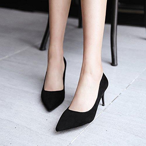 scarpe morbida centimetri scarpe nero pelle di Punta a satin satinata singola cerimoniale di da alto con fine calzatura con 3 34 lavoro bassa tacco nero di professionale wqFq8X7